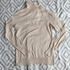 Banana Republic Tan Silk Turtleneck Sweater